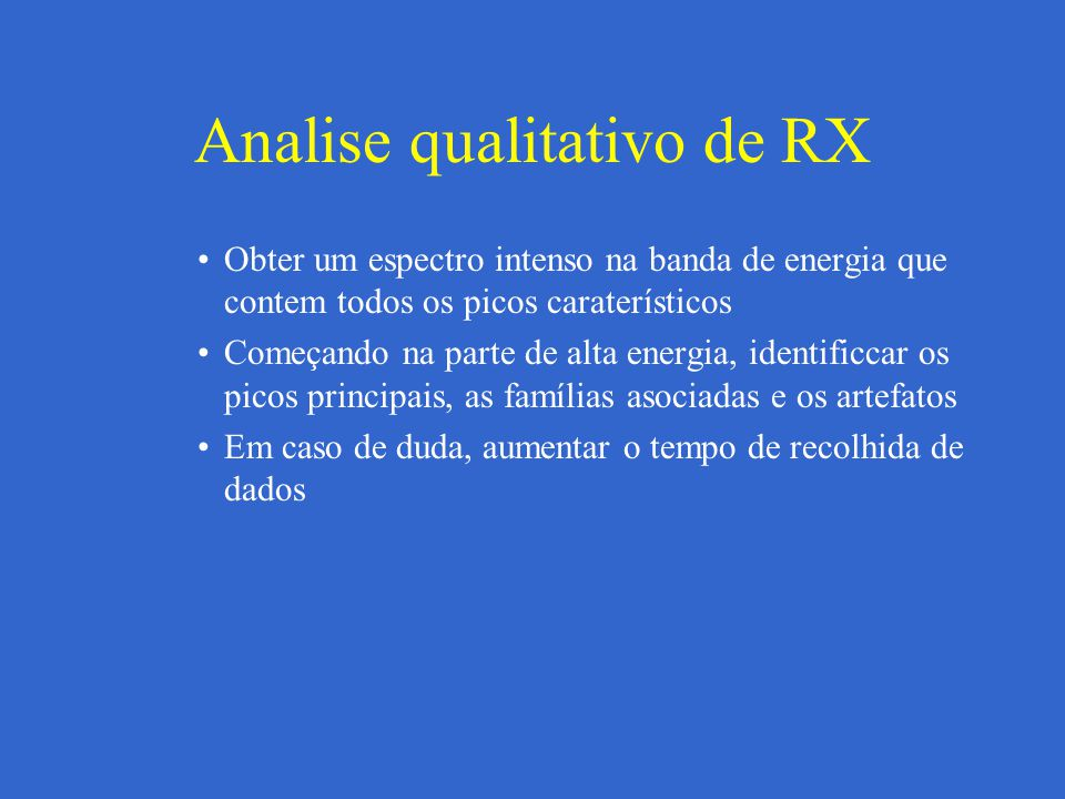 Analise qualitativo de RX