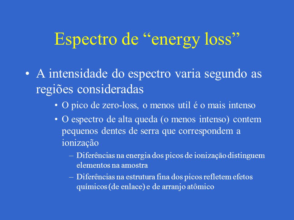 Espectro de energy loss