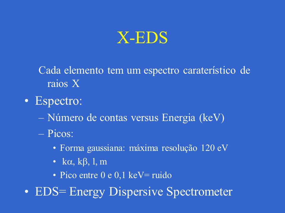 X-EDS Espectro: EDS= Energy Dispersive Spectrometer