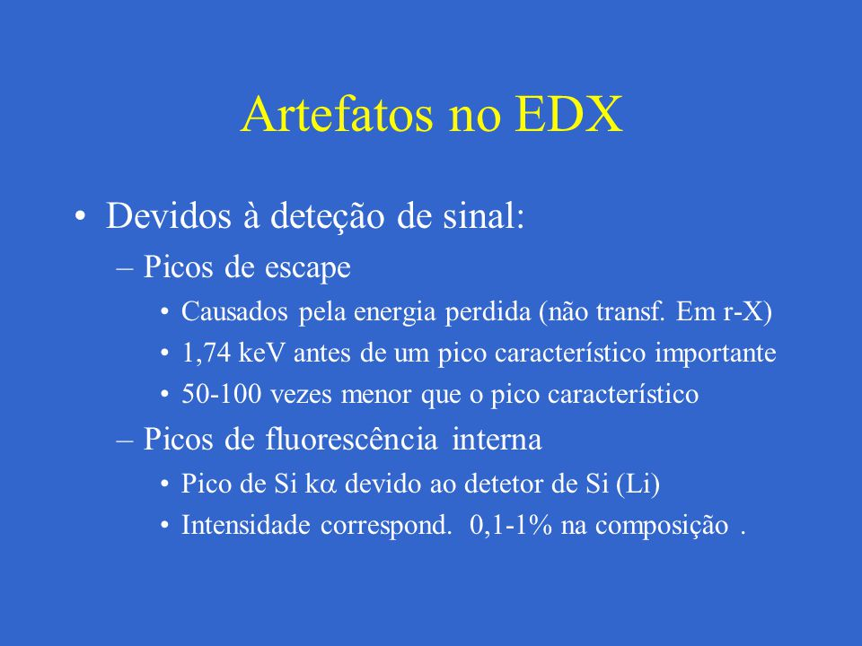Artefatos no EDX Devidos à deteção de sinal: Picos de escape