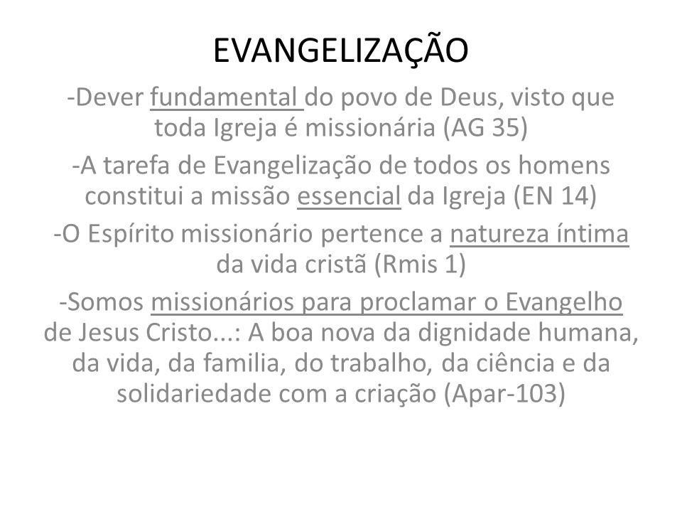 EVANGELIZAÇÃO -Dever fundamental do povo de Deus, visto que toda Igreja é missionária (AG 35)