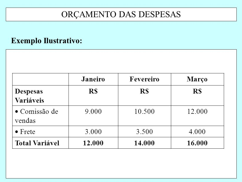 ORÇAMENTO DAS DESPESAS
