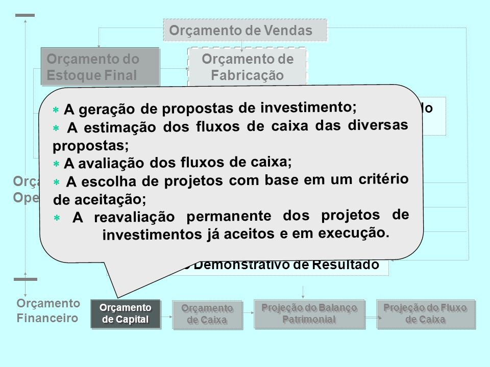  A geração de propostas de investimento;