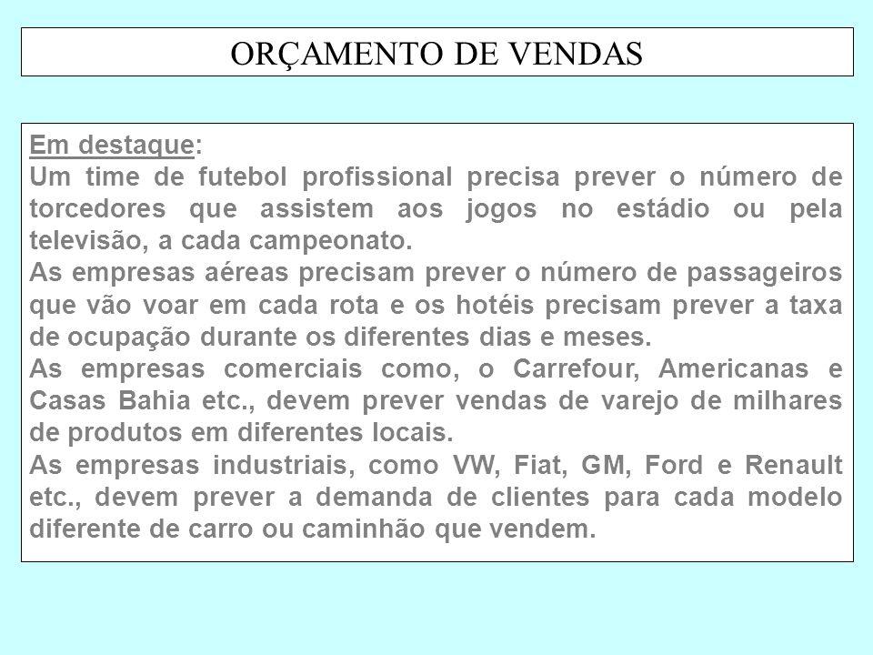 ORÇAMENTO DE VENDAS Em destaque: