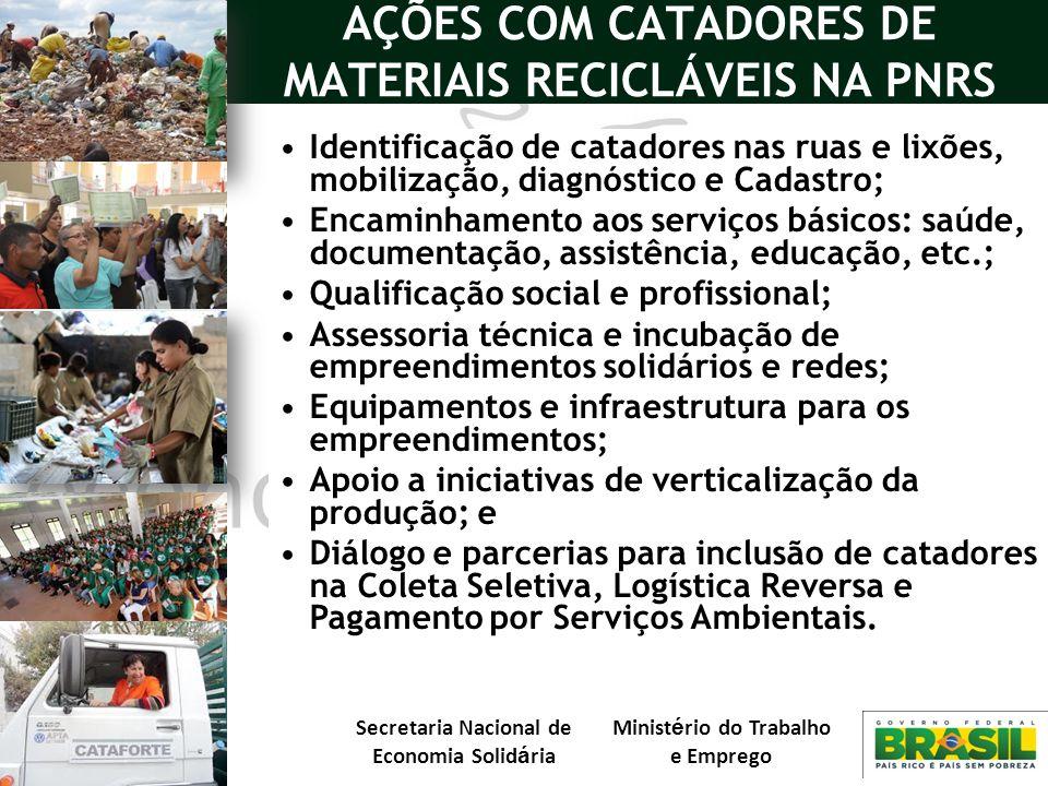 AÇÕES COM CATADORES DE MATERIAIS RECICLÁVEIS NA PNRS