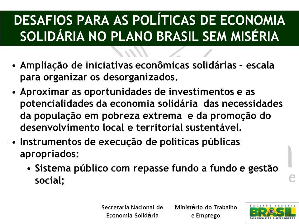 DESAFIOS PARA AS POLÍTICAS DE ECONOMIA SOLIDÁRIA NO PLANO BRASIL SEM MISÉRIA