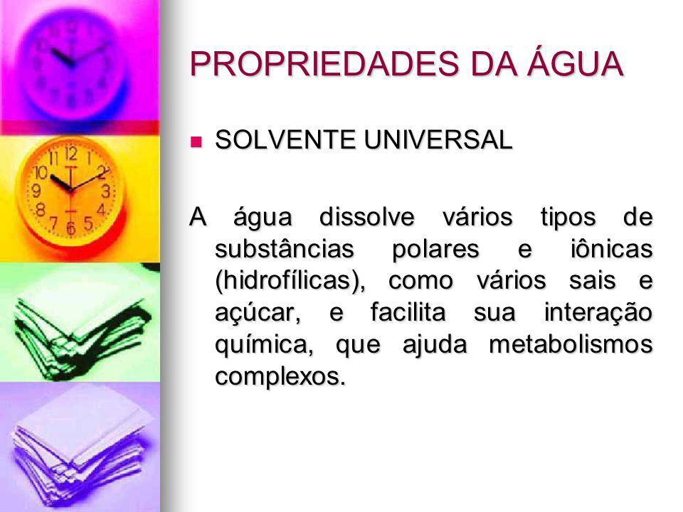 PROPRIEDADES DA ÁGUA SOLVENTE UNIVERSAL