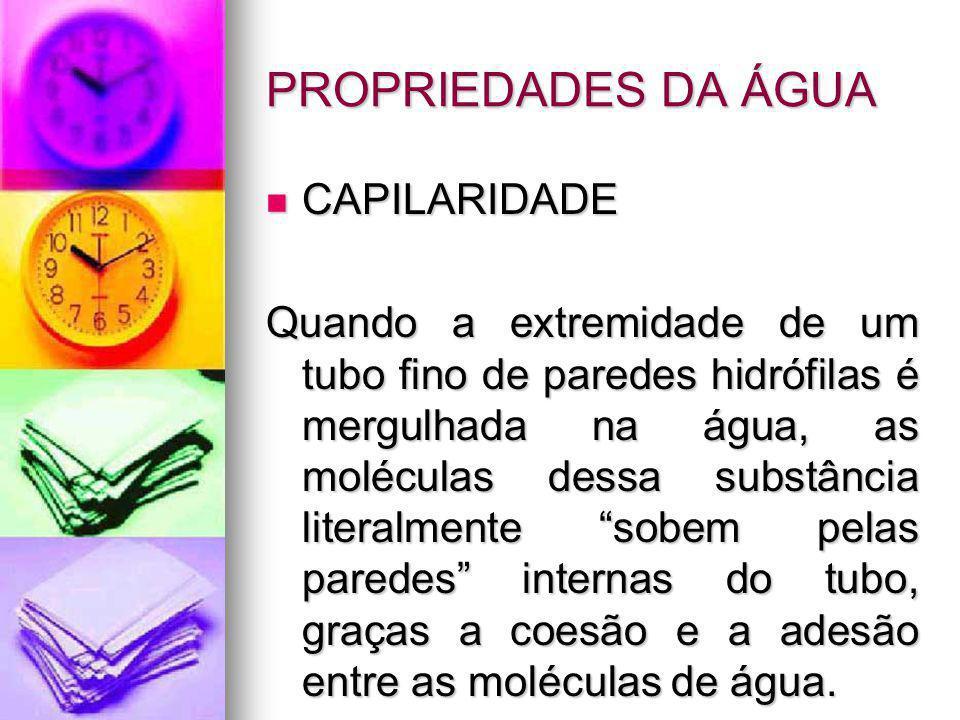 PROPRIEDADES DA ÁGUA CAPILARIDADE