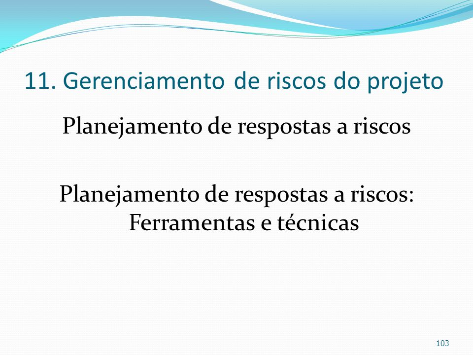 11. Gerenciamento de riscos do projeto