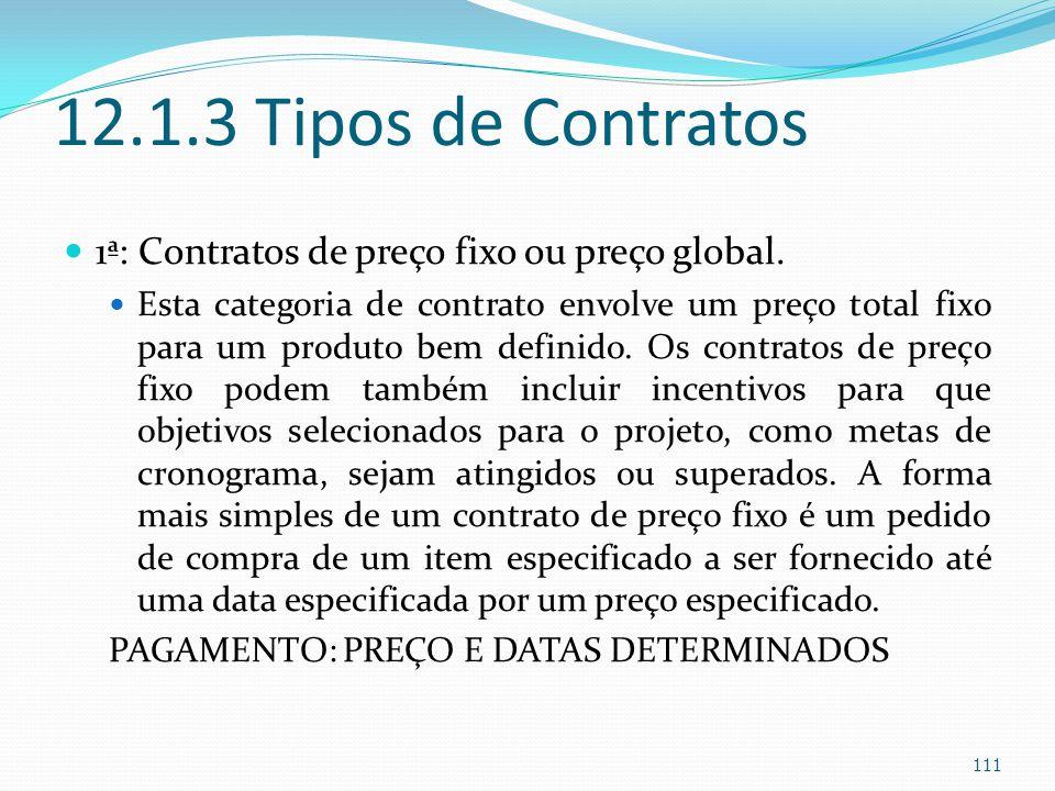 12.1.3 Tipos de Contratos 1ª: Contratos de preço fixo ou preço global.