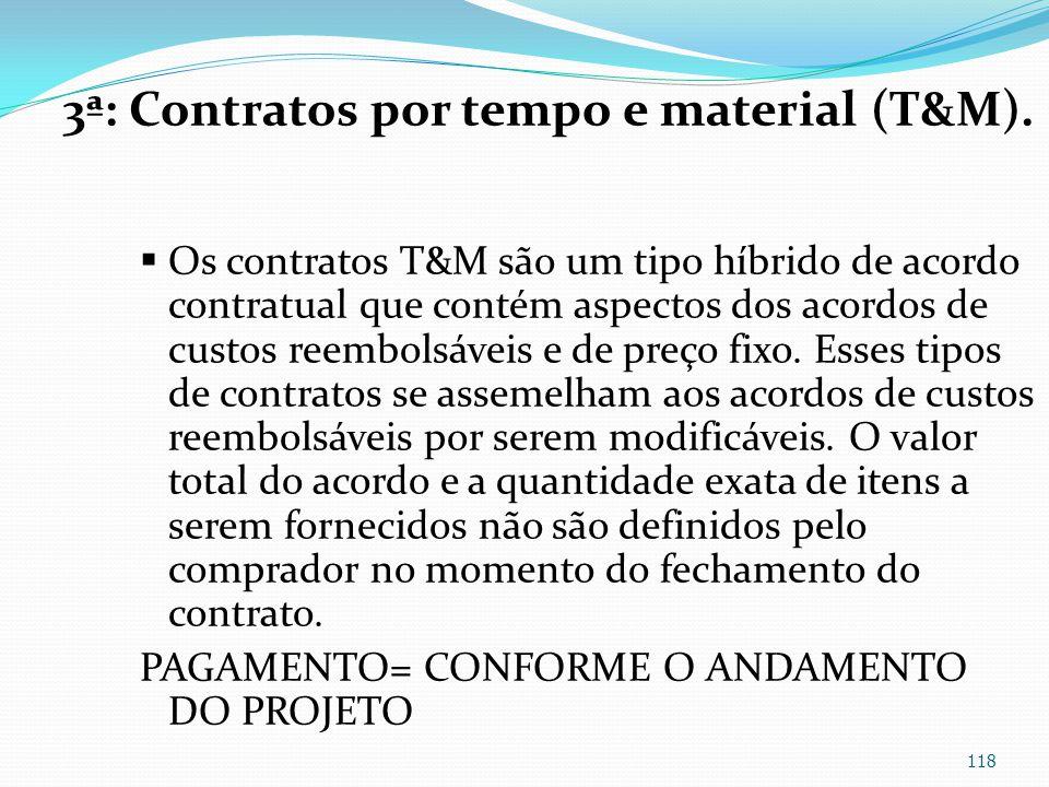 3ª: Contratos por tempo e material (T&M).