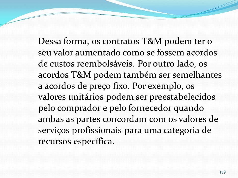 Dessa forma, os contratos T&M podem ter o seu valor aumentado como se fossem acordos de custos reembolsáveis.
