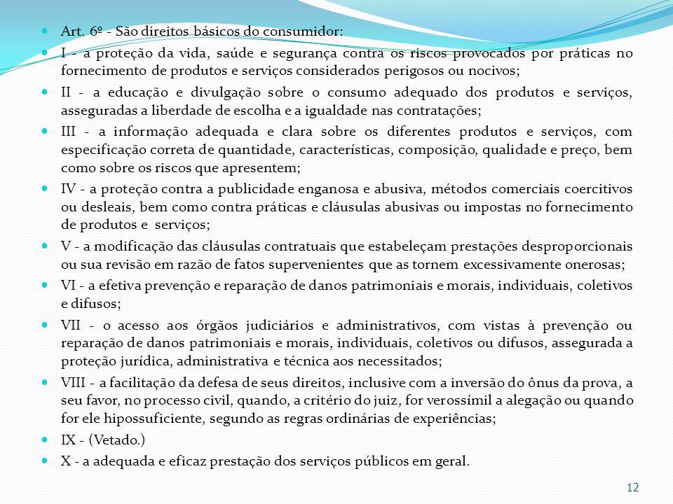 Art. 6º - São direitos básicos do consumidor: