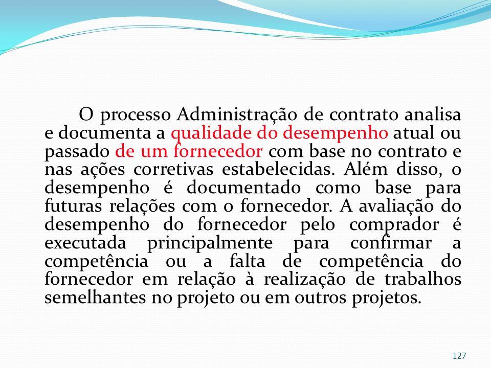 O processo Administração de contrato analisa e documenta a qualidade do desempenho atual ou passado de um fornecedor com base no contrato e nas ações corretivas estabelecidas.