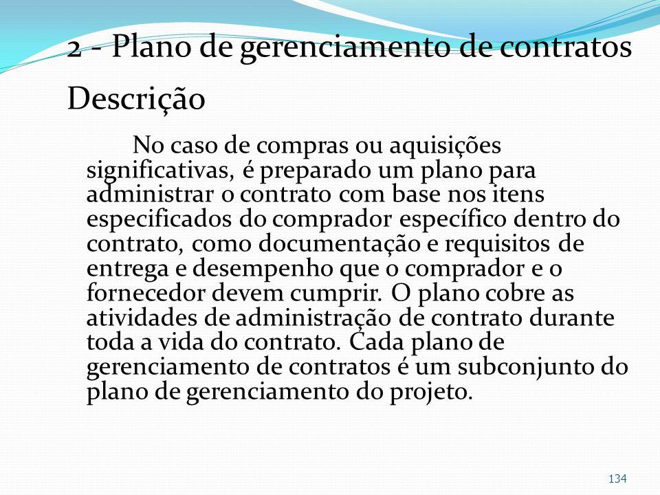 2 - Plano de gerenciamento de contratos Descrição