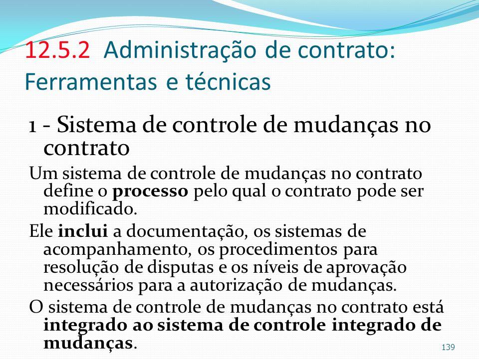 12.5.2 Administração de contrato: Ferramentas e técnicas