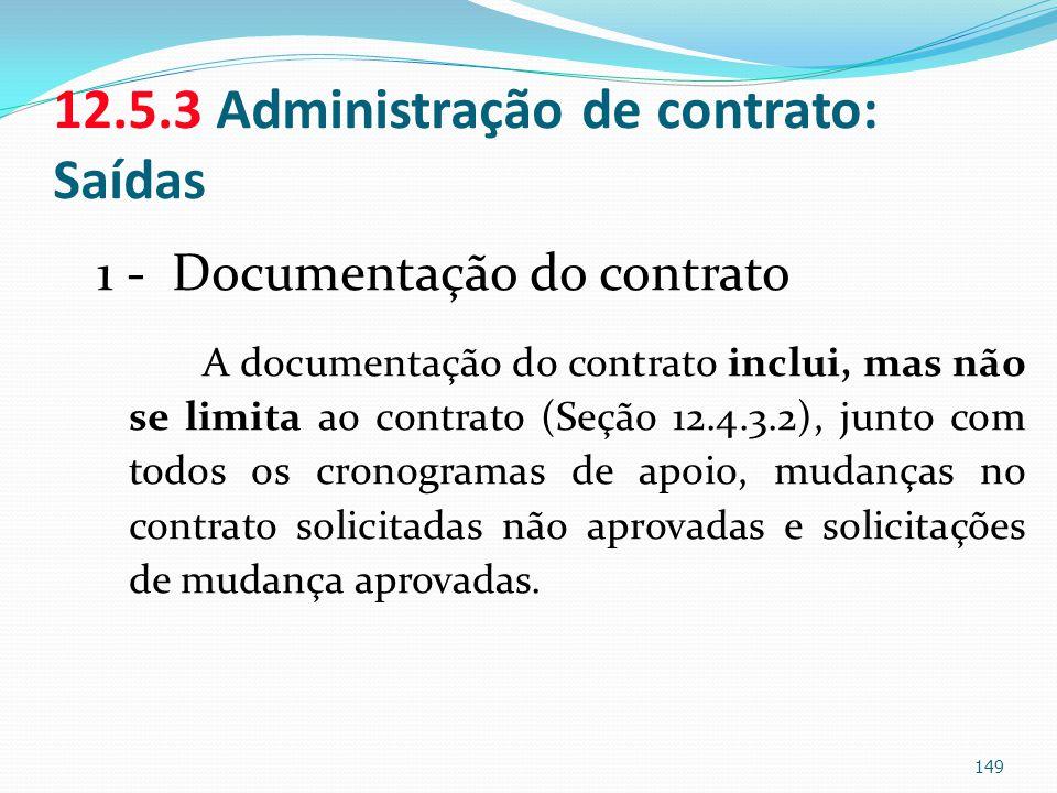 12.5.3 Administração de contrato: Saídas