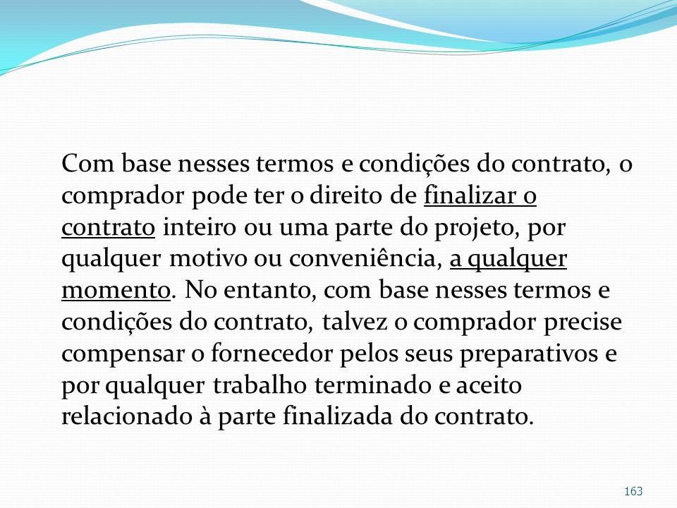 Com base nesses termos e condições do contrato, o comprador pode ter o direito de finalizar o contrato inteiro ou uma parte do projeto, por qualquer motivo ou conveniência, a qualquer momento.