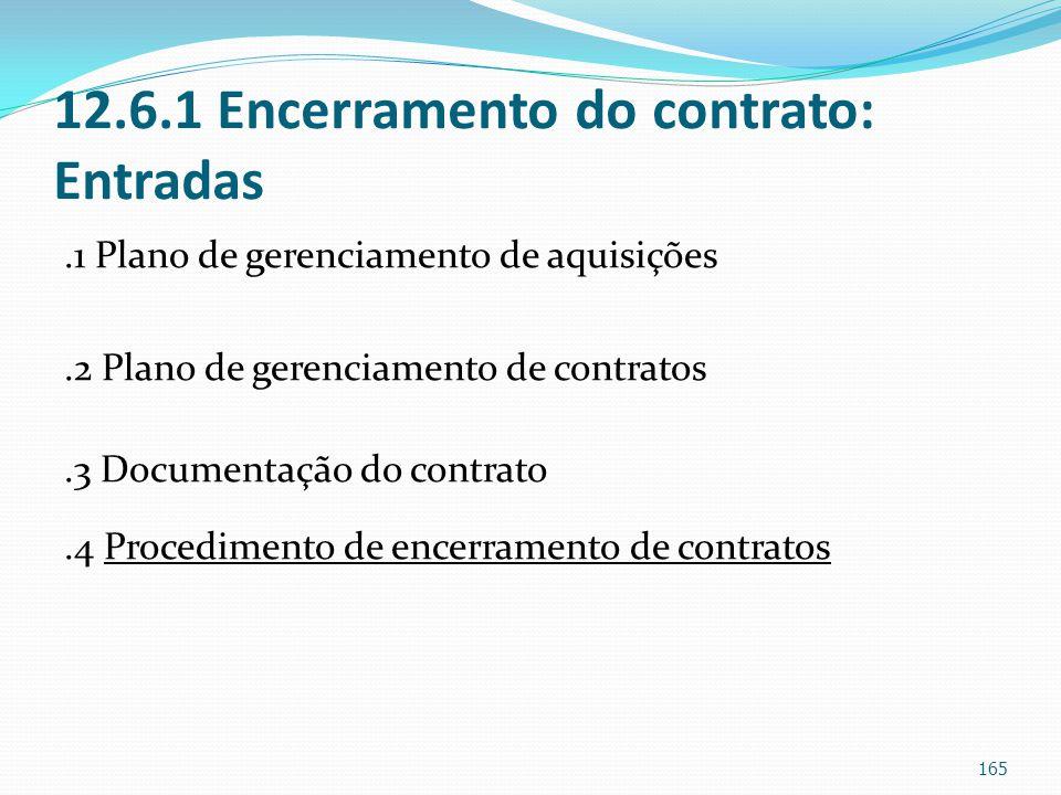 12.6.1 Encerramento do contrato: Entradas