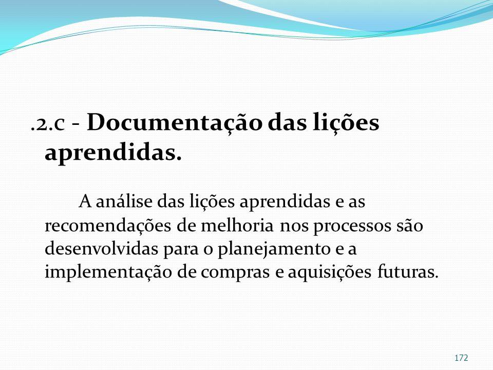 .2.c - Documentação das lições aprendidas.