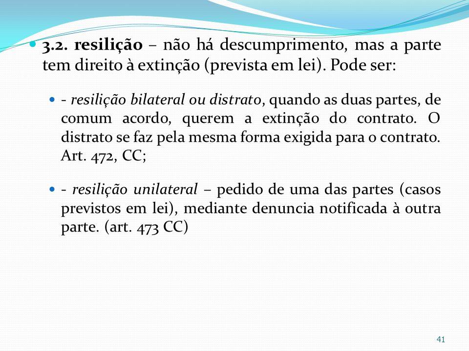 3.2. resilição – não há descumprimento, mas a parte tem direito à extinção (prevista em lei). Pode ser: