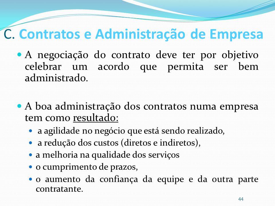 C. Contratos e Administração de Empresa