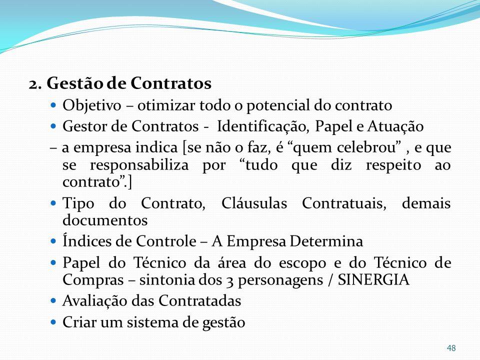 2. Gestão de Contratos Objetivo – otimizar todo o potencial do contrato. Gestor de Contratos - Identificação, Papel e Atuação.