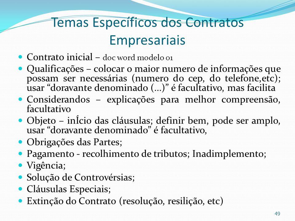 Temas Específicos dos Contratos Empresariais