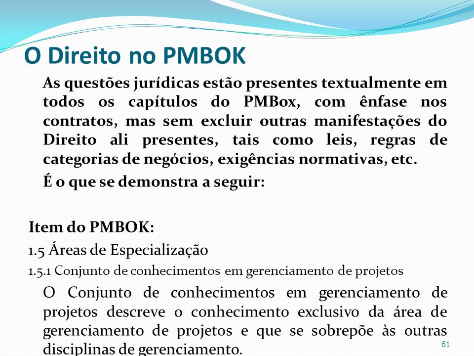 O Direito no PMBOK