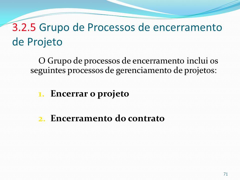 3.2.5 Grupo de Processos de encerramento de Projeto