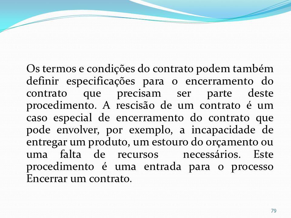 Os termos e condições do contrato podem também definir especificações para o encerramento do contrato que precisam ser parte deste procedimento.
