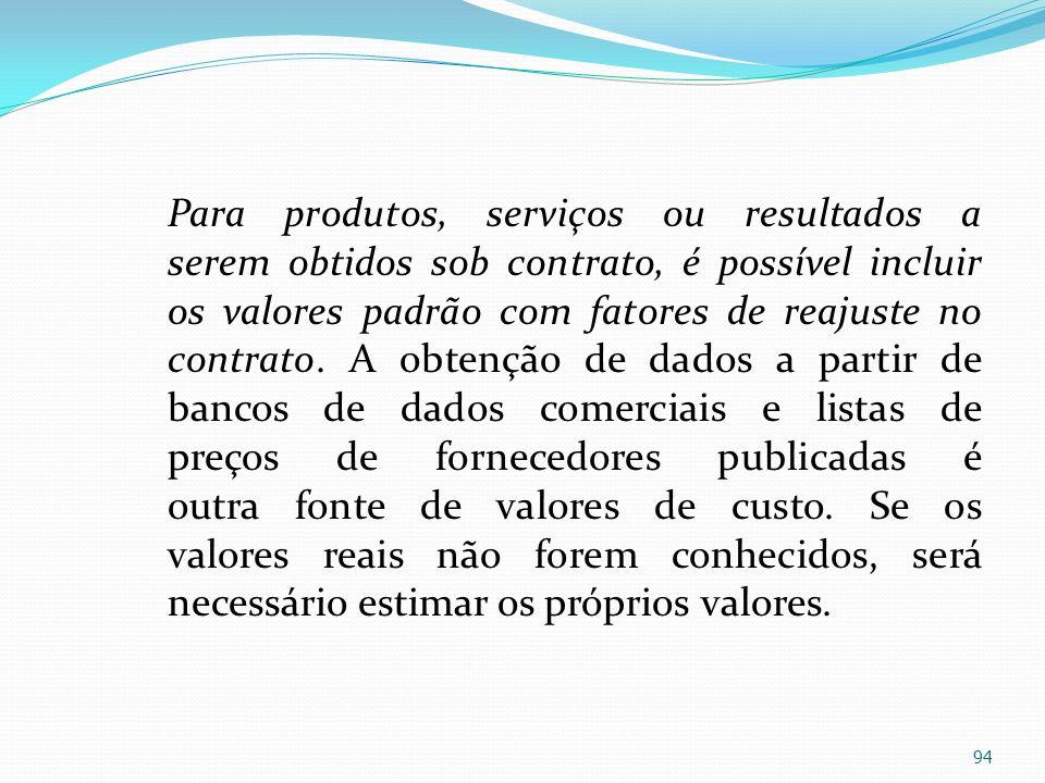 Para produtos, serviços ou resultados a