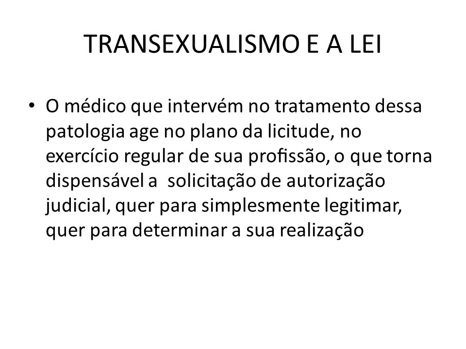TRANSEXUALISMO E A LEI