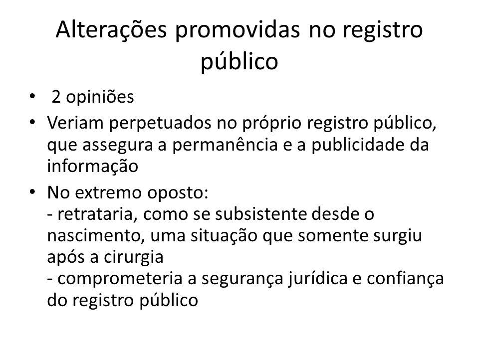 Alterações promovidas no registro público