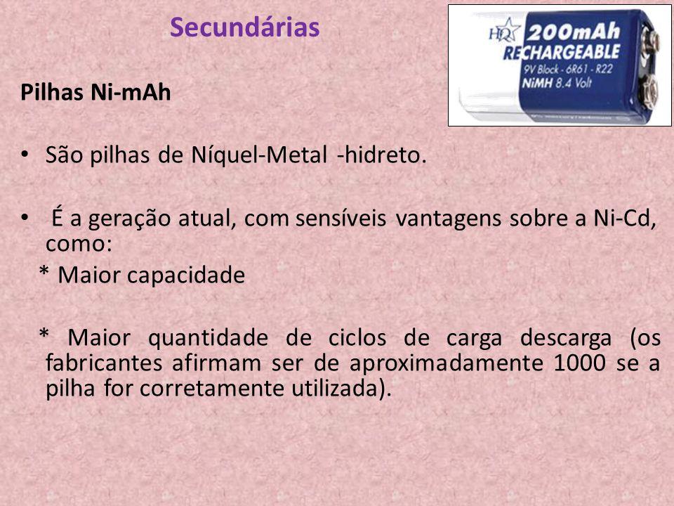 Secundárias Pilhas Ni-mAh São pilhas de Níquel-Metal -hidreto.