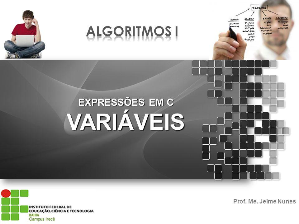 ALGORITMOS I EXPRESSÕES EM C VARIÁVEIS Prof. Me. Jeime Nunes