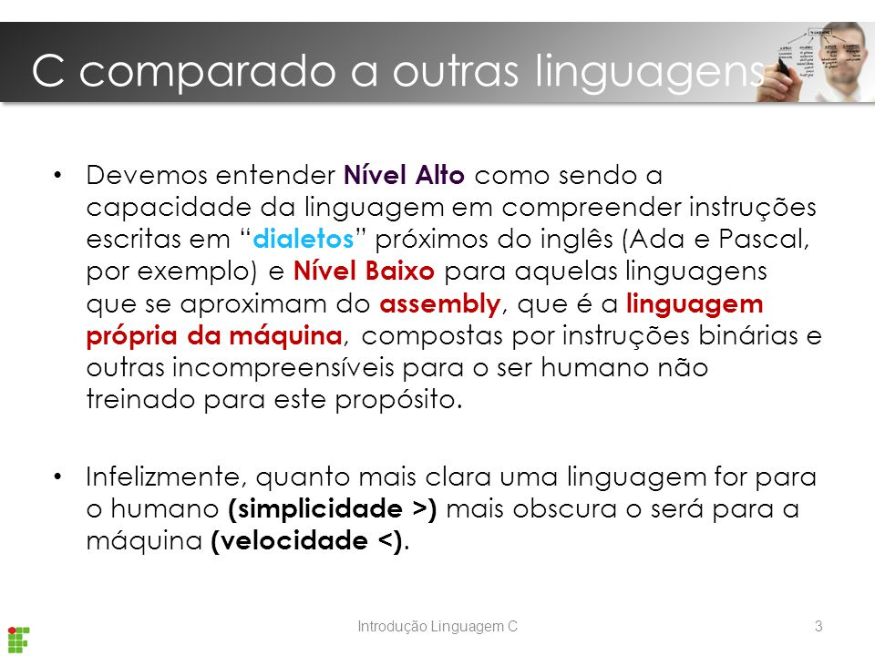 C comparado a outras linguagens