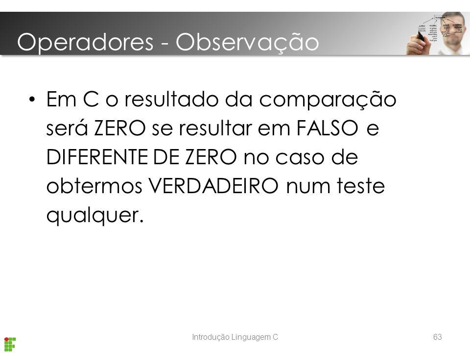 Operadores - Observação
