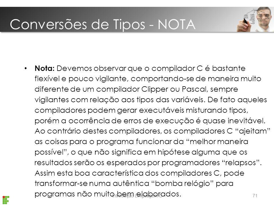 Conversões de Tipos - NOTA