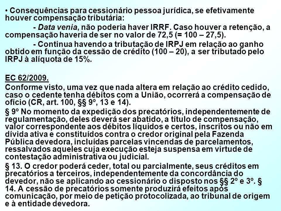 Consequências para cessionário pessoa jurídica, se efetivamente houver compensação tributária: