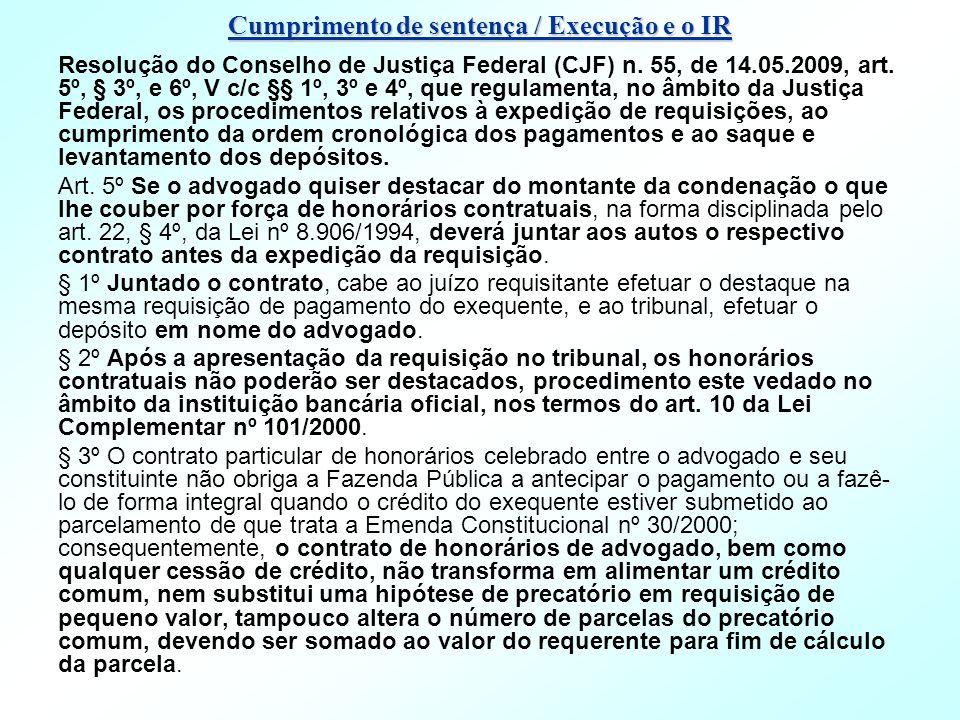 Cumprimento de sentença / Execução e o IR