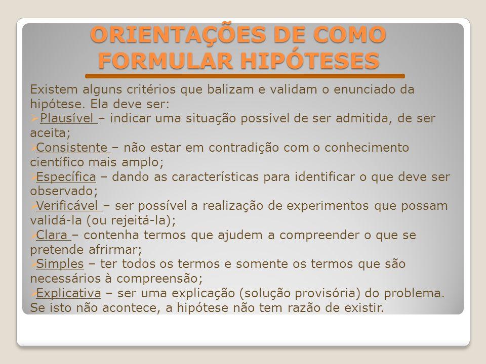 ORIENTAÇÕES DE COMO FORMULAR HIPÓTESES