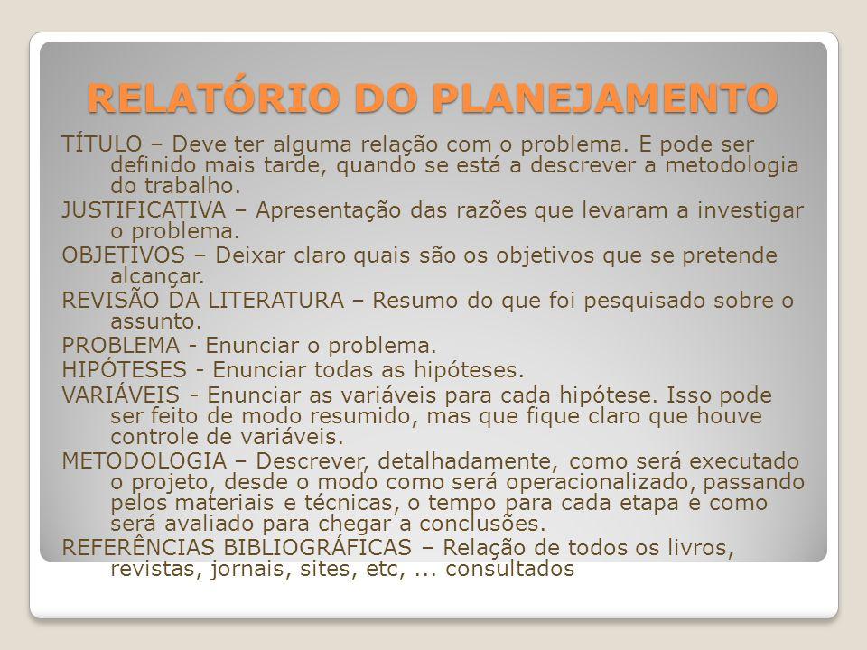Relatório do Planejamento