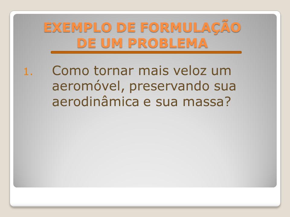 EXEMPLO DE FORMULAÇÃO DE UM PROBLEMA