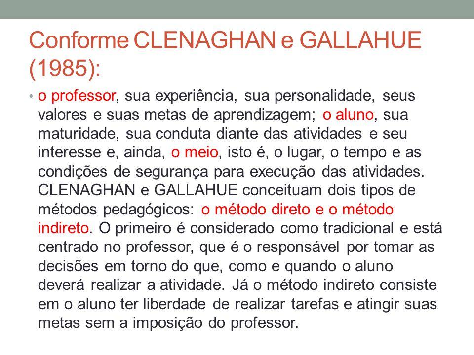 Conforme CLENAGHAN e GALLAHUE (1985):