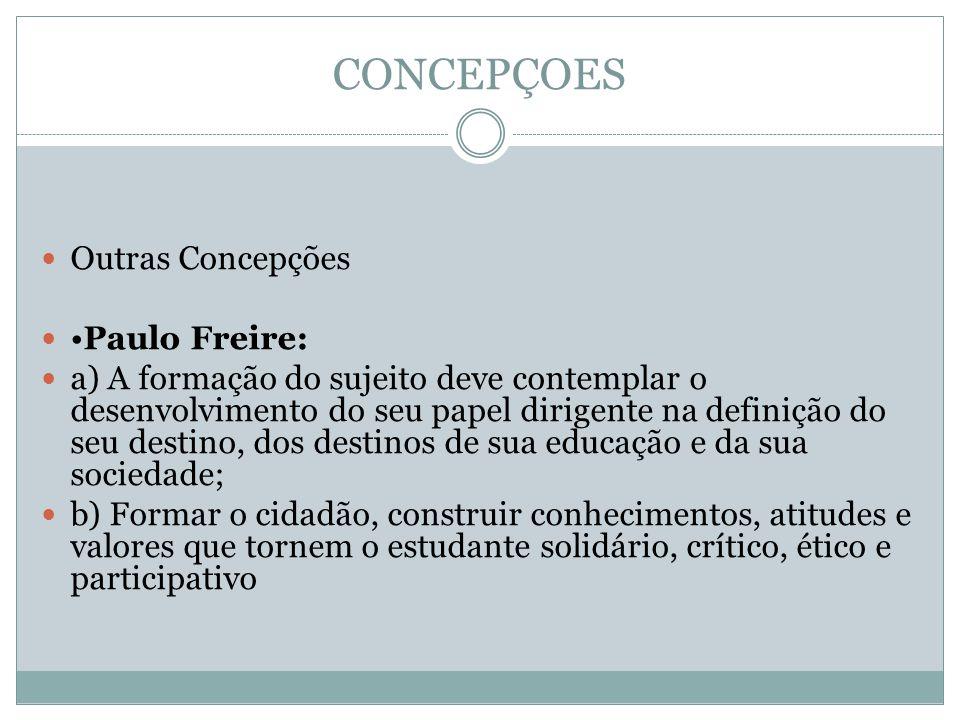 CONCEPÇOES Outras Concepções •Paulo Freire: