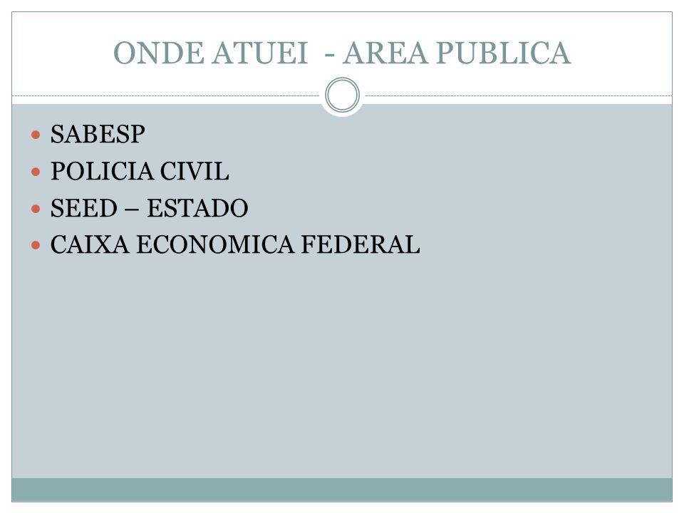 ONDE ATUEI - AREA PUBLICA