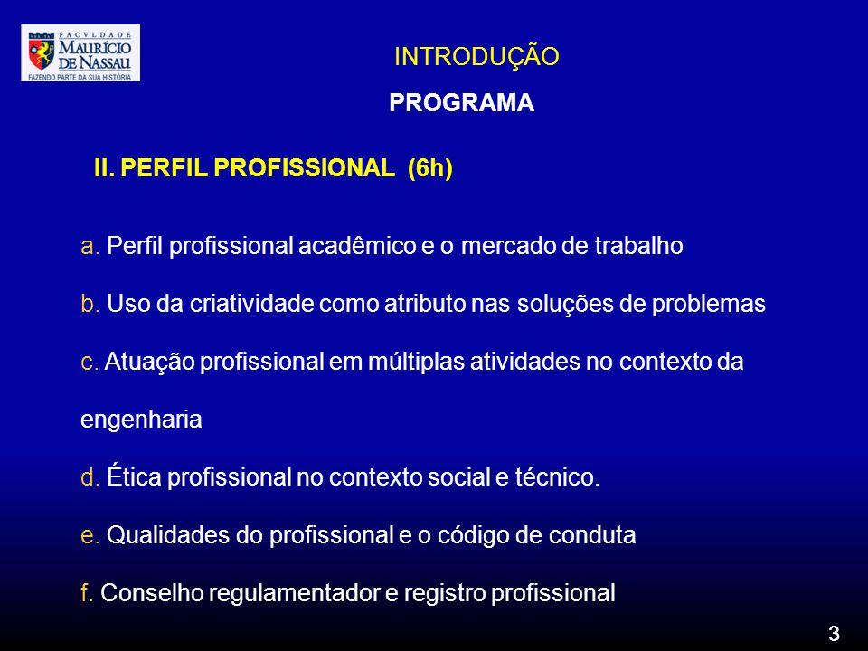 II. PERFIL PROFISSIONAL (6h)