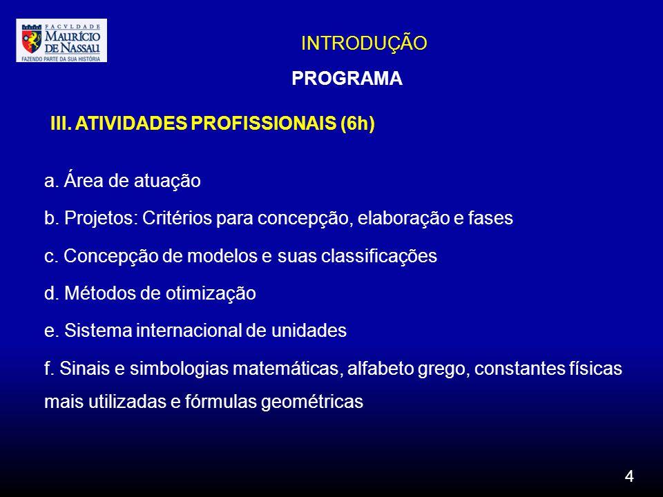 III. ATIVIDADES PROFISSIONAIS (6h)
