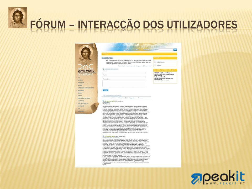Fórum – Interacção dos utilizadores